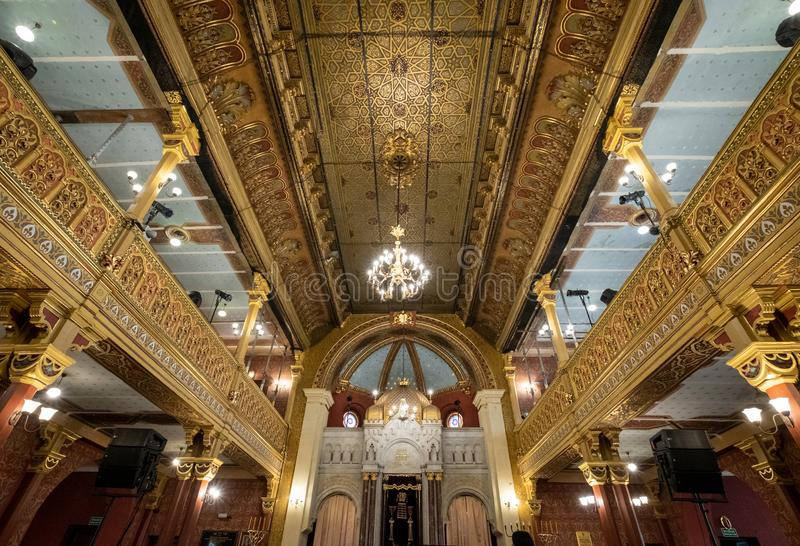 Interior of the Tempel / Temple Synagogue in Miodowa Street, Kazimierz, the historic Jewish quarter of Krakow, Poland. The building is built in Moorish style royalty free stock photos