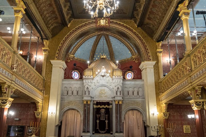 Interior of the Tempel / Temple Synagogue in Miodowa Street, Kazimierz, the historic Jewish quarter of Krakow, Poland. The building is built in Moorish style stock image