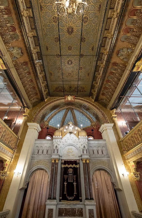 Interior of the Tempel / Temple Synagogue in Miodowa Street, Kazimierz, the historic Jewish quarter of Krakow, Poland. Synagogue was built in Moorish style and stock photo