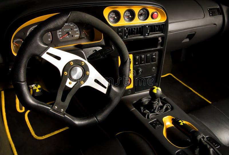 Interior templado del coche deportivo imagen de archivo libre de regalías