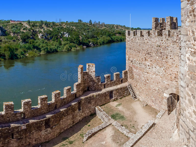 Interior of the Templar Castle of Almourol and Tagus river. One of the most famous castles in Portugal. Built on a rocky island in the middle of Tagus river stock photography