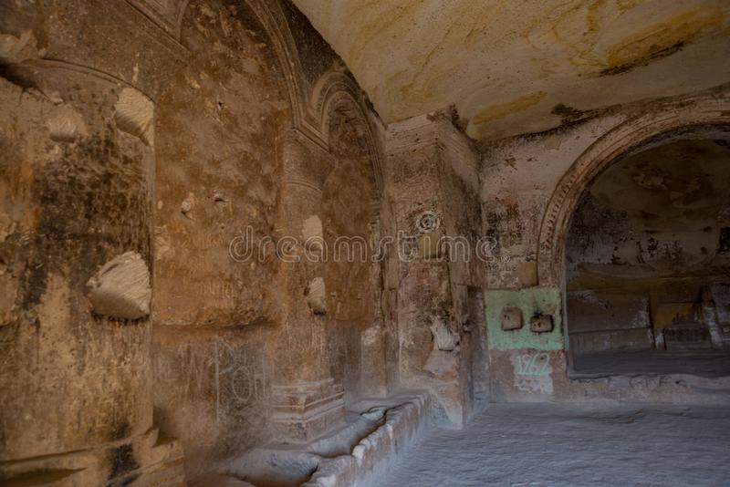 Interior of the temple. Inside of Church of St. John the Baptist, Cavusin Village, Cappadocia, Nevsehir region. The old troglodyte settlement of Cavusin stock photo