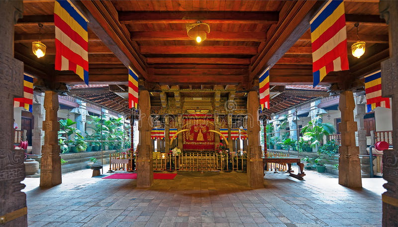 The interior of Temple of the Tooth in Kandy, Sri Lanka. The interior of Temple of the Tooth (Sri Dalada Maligawa) in Kandy, Sri Lanka stock photo