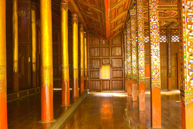 Interior of Thai wooden temple stock image