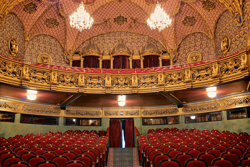 Interior of theatre. Luxurious interior of the hall in the old theatre stock photography
