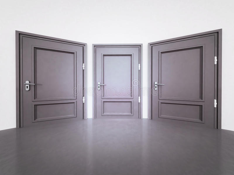 Interior with three closed doors in 3D vector illustration