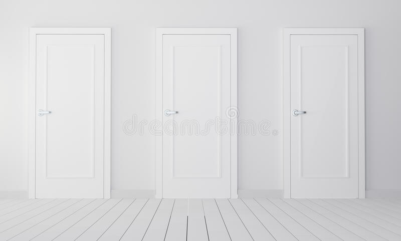 Interior with three white closed doors royalty free illustration