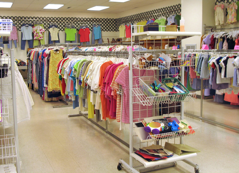 Interior of thrift shop. Interior of a bright, clean thrift shop stock photos
