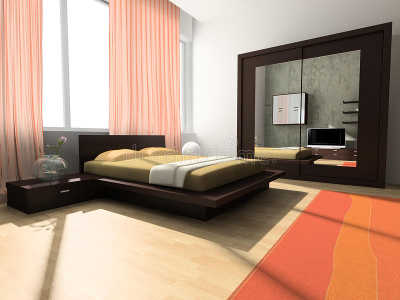 Interior to bedrooms stock illustration