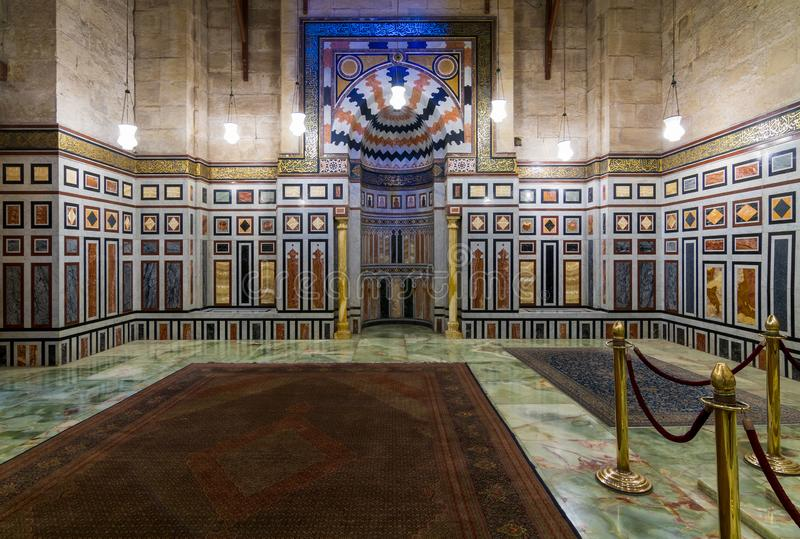 Interior of the tomb of the Reza Shah of Iran, Al Rifaii Mosque, Royal Mosque, Cairo, Egypt. Interior of the tomb of the Reza Shah of Iran, Al Rifaii Mosque stock images