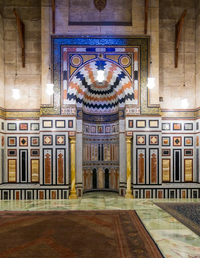 Interior of the tomb of the Reza Shah of Iran, Al Rifaii Mosque, Royal Mosque, Cairo, Egypt. Interior of the tomb of the Reza Shah of Iran, Al Rifaii Mosque stock image