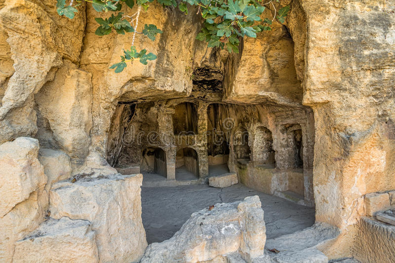 Interior of the Tombs of the Kings. Interior of ancient remains of the Tombs of the Kings at Paphos, Cyprus stock image