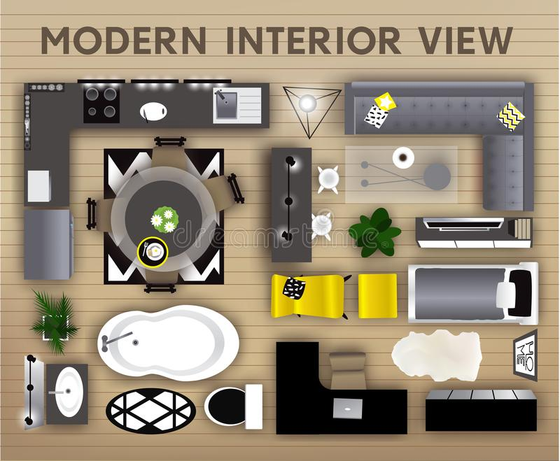 Interior top view icons set. Realistic interior furniture elements. royalty free illustration
