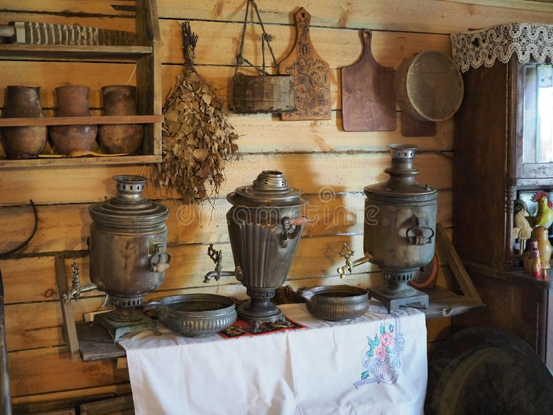 Interior of the traditional rural Russian house with a samovar. Russia, Elton - september, 2019 royalty free stock photo