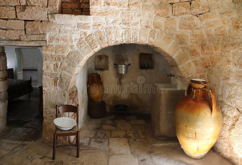 Interior of a traditional Trullo house in Alberobello, Italy stock photo