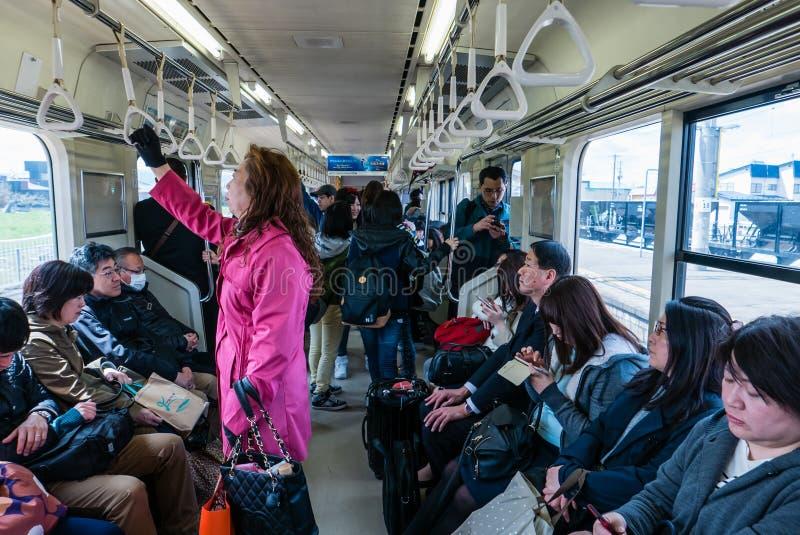 The interior of a train carriage in Aomori stock photography
