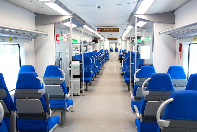 The interior of the train `Lastochka` is a Russian high speed electric express train, based on Siemens Desiro design. Moscow centr stock photo