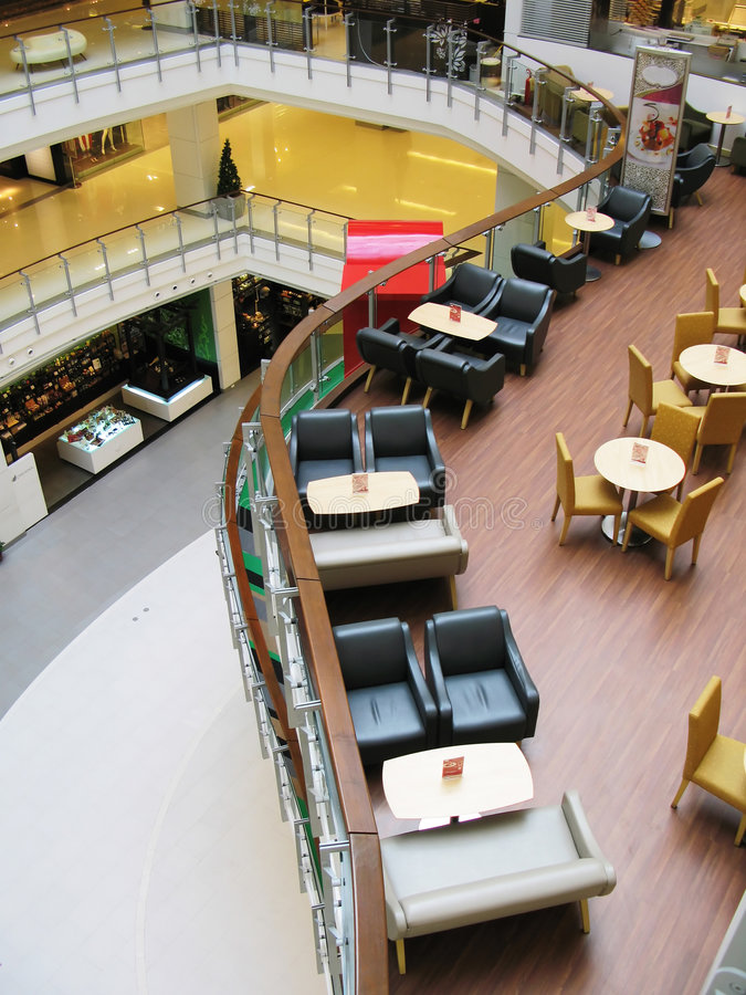 Interior of a trendy cafe. In a shopping mall royalty free stock photos