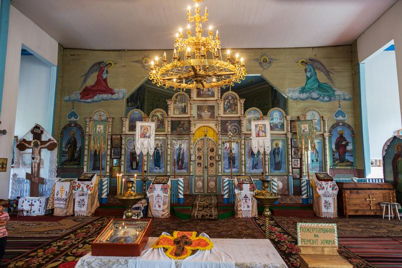 Interior of the Ukrainian Orthodox Church Moscow Patriarchate. Ukraine, Odessa region, Kodyma, 2012, altar, iconostasis stock photo
