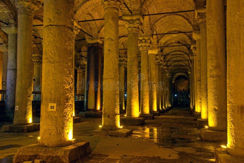 Interior of Underground Cistern in Istanbul stock photos