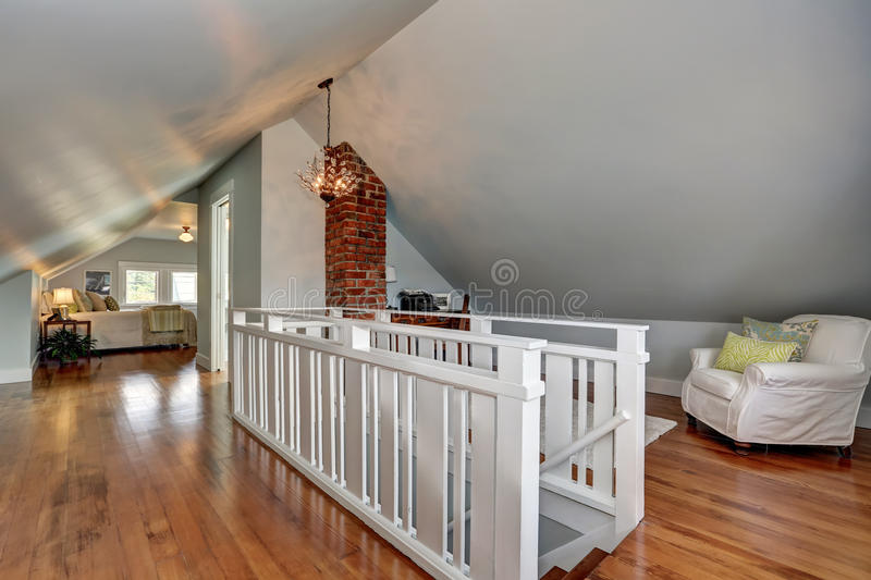 Download Interior Of Upstairs Room With Hardwood Floor And Vaulted Ceiling.  Stock Image   Image