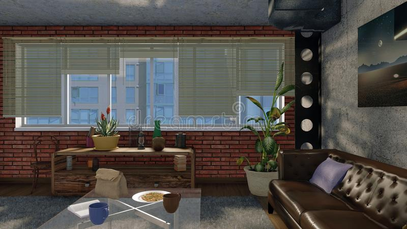 Interior urbano de la sala de estar en estilo del diseño del desván libre illustration