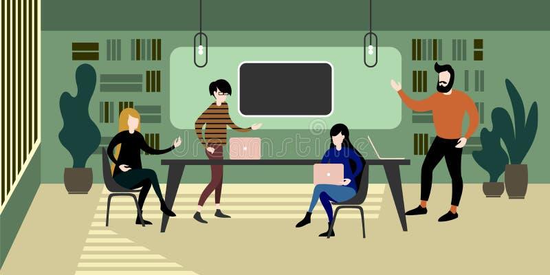 Interior urbano moderno del espacio de trabajo del verde del eco ilustración del vector