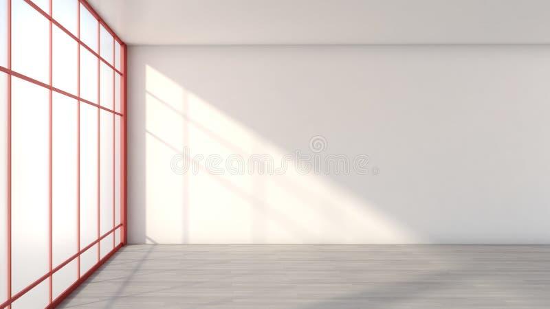 Interior vacío blanco con una ventana grande ilustración del vector