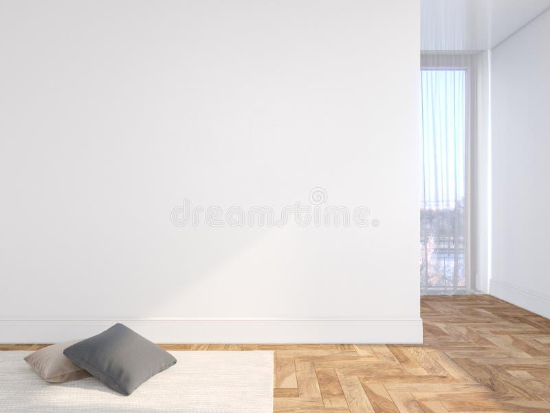 Interior vac?o blanco de la pared en blanco con el piso de madera de las almohadas, de la alfombra, de la cortina y de la raspa d foto de archivo libre de regalías