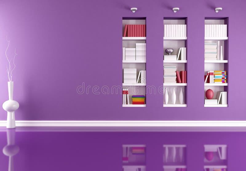 Interior vacío con el estante para libros ilustración del vector
