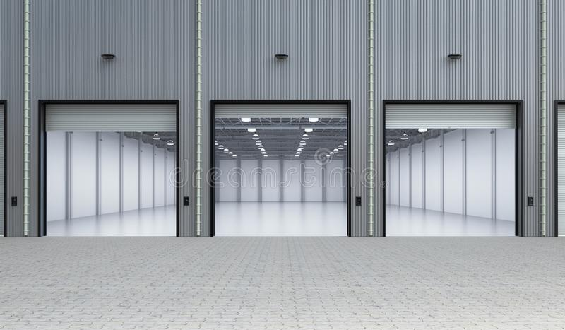 Interior vacío de la fábrica stock de ilustración