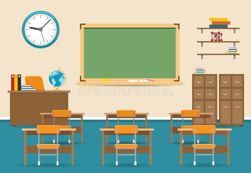 Interior vacío de la sala de clase con la pizarra ilustración del vector