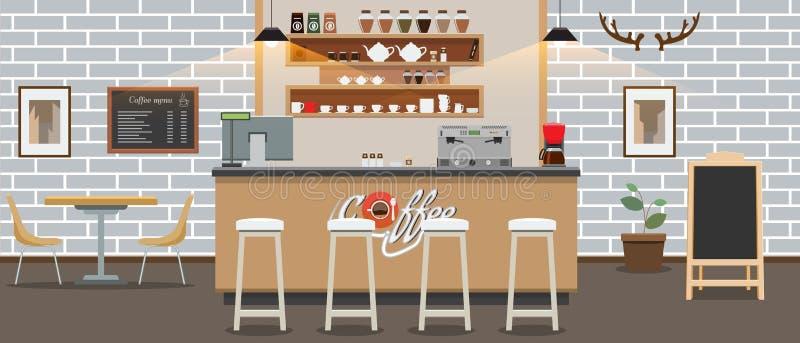 Interior vacío del café Contador de la barra de la tienda de Cofee con estilo del color plano y sólido Ilustración del vector libre illustration