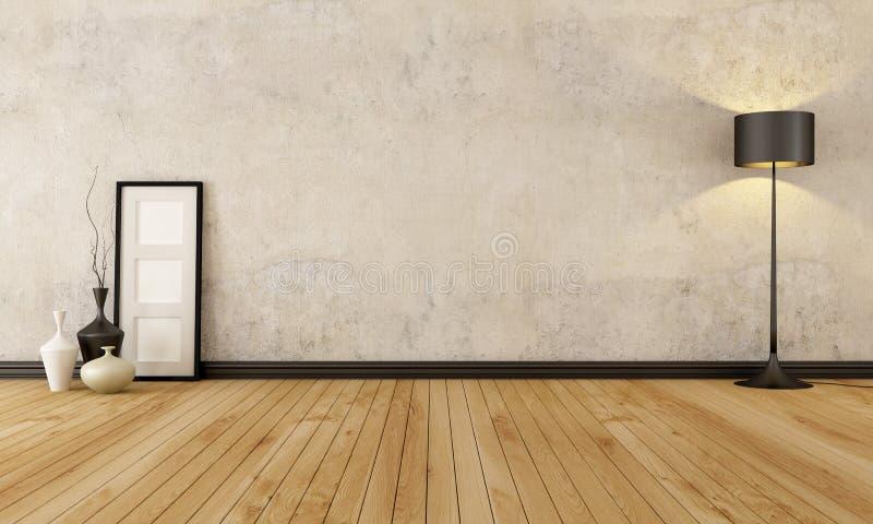 Interior vacío del grunge stock de ilustración
