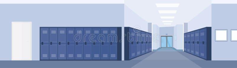 Interior vacío del pasillo del pasillo de la escuela con la fila del plano horizontal de la bandera de los armarios azules libre illustration