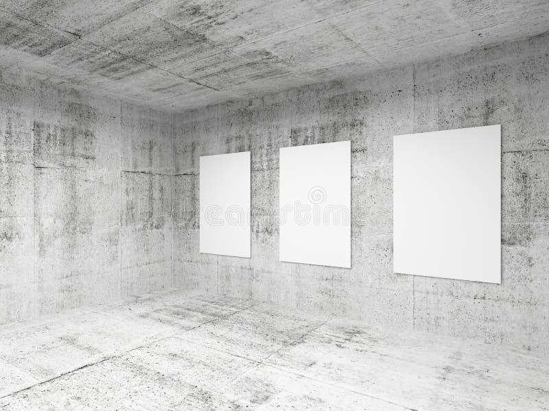 Interior vacío del pasillo de la galería de arte. 3d rinden stock de ilustración