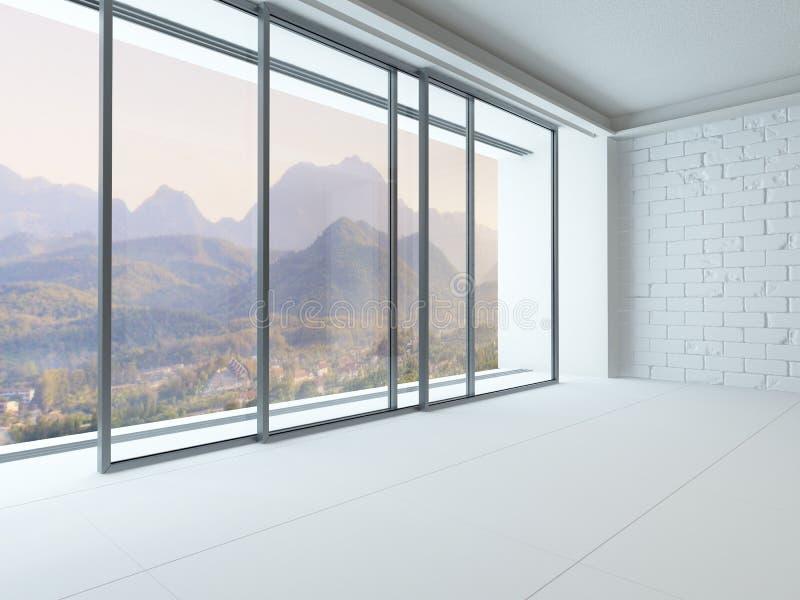 Interior vacío del sitio blanco con la ventana enorme imágenes de archivo libres de regalías