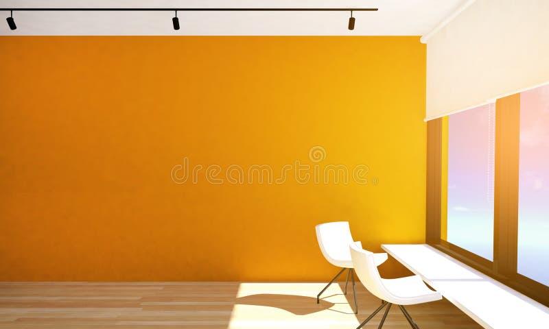 Interior vacío del sitio con el piso anaranjado de la pared y de entarimado con las ventanas y las lámparas grandes del techo fotografía de archivo libre de regalías