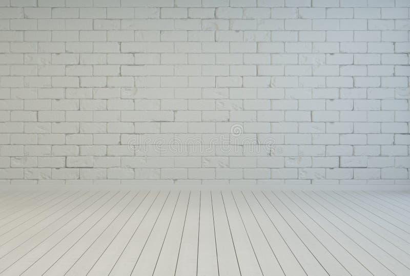 Interior vacío del sitio con la pared de ladrillo blanca stock de ilustración