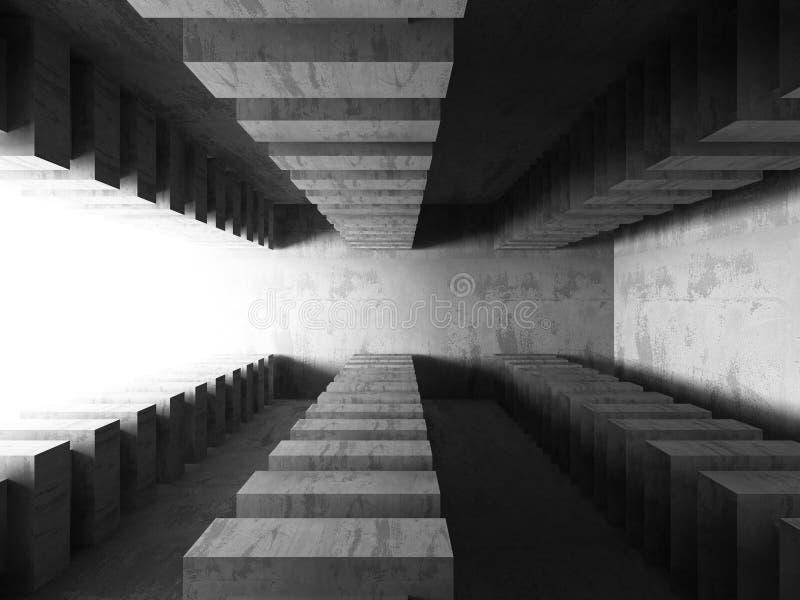 Interior vacío del sitio del sótano oscuro Muros de cemento stock de ilustración