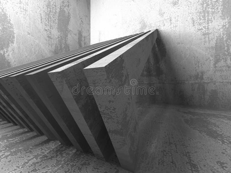 Interior vacío del sitio del sótano oscuro Muros de cemento Configuración libre illustration