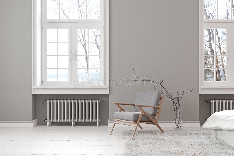 Interior vacío gris escandinavo con la butaca, la ventana y la alfombra del salón ilustración del vector