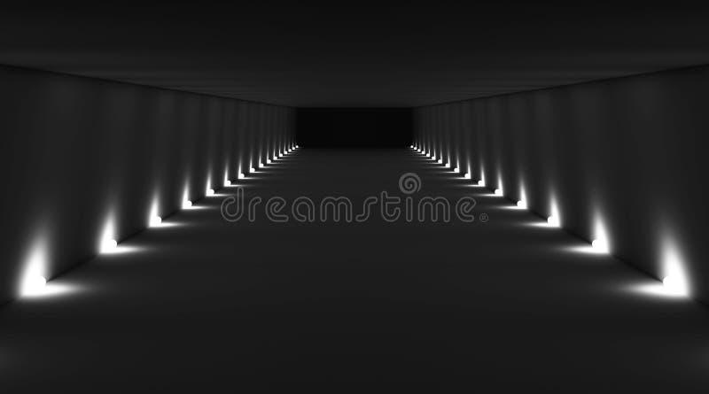 Interior vacío oscuro abstracto 3 d del túnel libre illustration