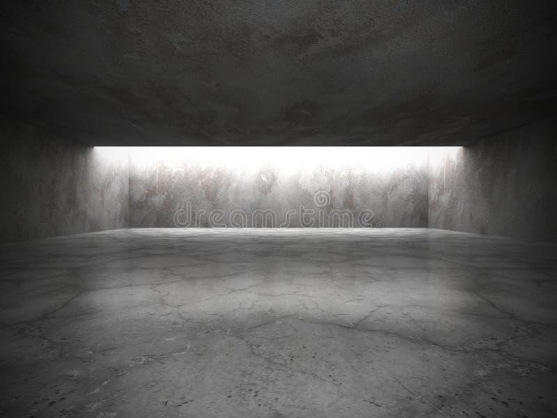 Interior vacío oscuro del sitio con los viejos muros de cemento y lig del techo ilustración del vector