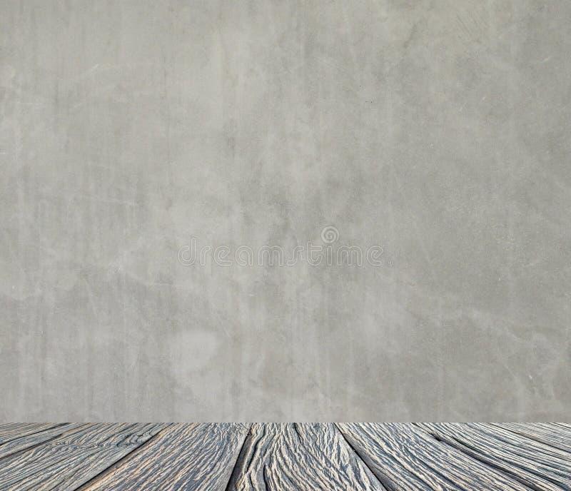 Interior vacío para el diseño, el muro de cemento blanco y el piso de madera Sitio vacío Espacio para el texto y la imagen Ideas  imagen de archivo libre de regalías