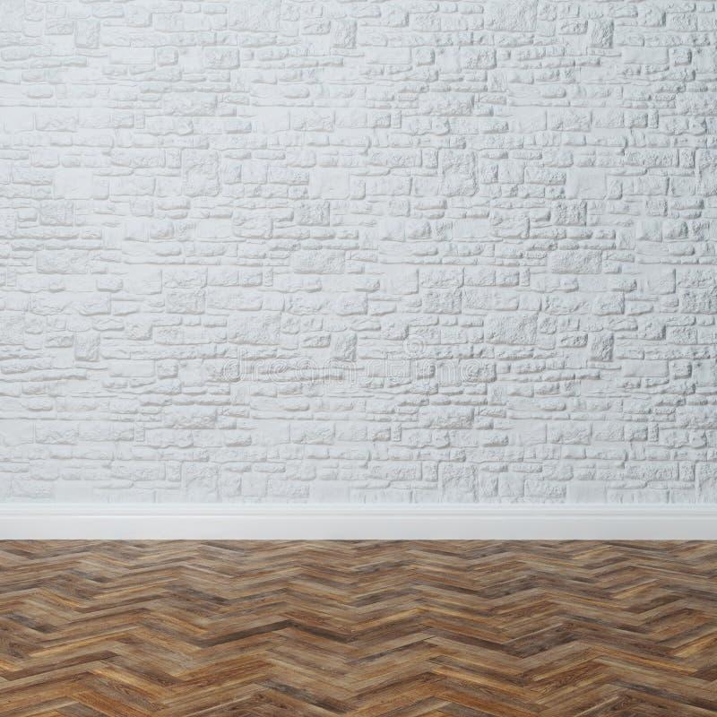 Interior vacío - pared de ladrillo con la piedra decorativa y la madera dura imágenes de archivo libres de regalías