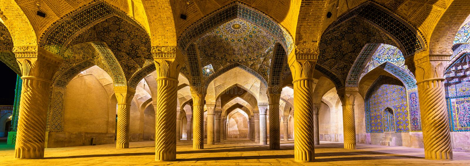 Interior of Vakil Mosque in Shiraz, Iran royalty free stock photo