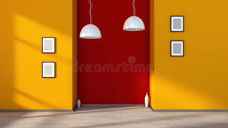 Interior vazio alaranjado com lâmpada e quadros brancos na parede ilustração stock