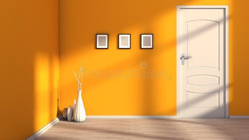 Interior vazio alaranjado com uma porta branca ilustração stock