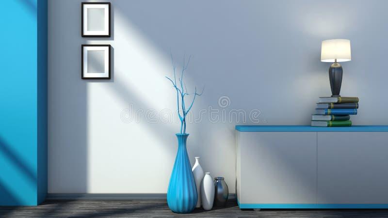 Interior vazio azul com vasos e lâmpada ilustração do vetor